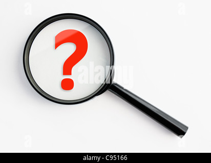 question mark under a magnifying glass, with isolated background - Stock Image