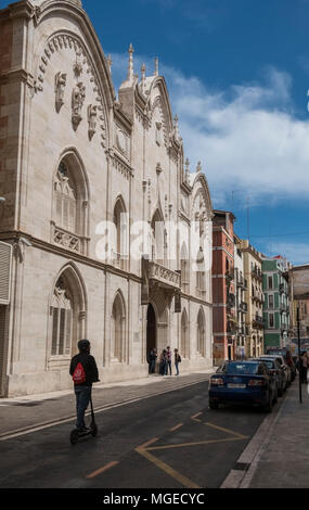 Front facade of Valencia Catholic University Saint Vincent Martyr, a private university located on Carrer de Guillem de Castro, Valencia, Spain - Stock Image