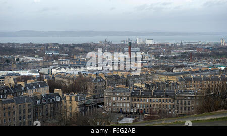 Looking North from Calton Hill across Edinburgh towards Leith and the Firth of Forth - Stock Image