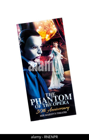 Promotional flyer for 30th Anniversary of The Phantom of the Opera by Andrew Lloyd Webber.  At Her Majesty's Theatre. - Stock Image