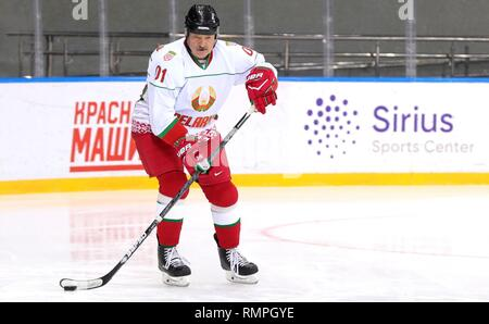 Sochi, Russia. 15th Feb, 2019. Belarus President Alexander Lukashenko, center, during a friendly ice hockey match with Russian President Vladimir Putin, #11, at the Shaiba Arena February 15, 2019 in Sochi, Russia. Credit: Planetpix/Alamy Live News - Stock Image