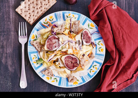 dietetic salad with sliced figs - Stock Image