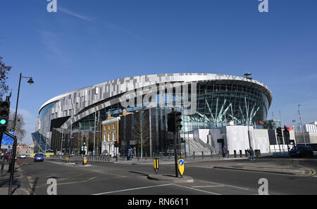 London, UK. 17th Feb, 2019.   A beautiful sunny day by the new Tottenham Hotspur Stadium in North London as it nears its completion with the football club hoping to play their first games there in the next few weeks Credit: Simon Dack/Alamy Live News - Stock Image