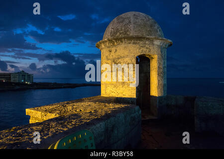 Cuba, Havana. Golden light illumines stone turret of old fort. Credit as: Wendy Kaveney / Jaynes Gallery / DanitaDelimont.com - Stock Image
