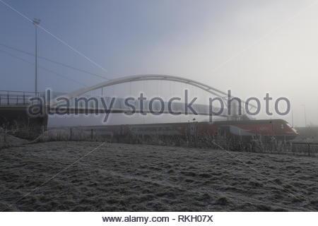 Seabraes Bridge with fog Dundee Scotland  January 2019 - Stock Image