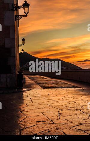 Colouful dawn sunrise, Sitges, Catalonia, SPain - Stock Image