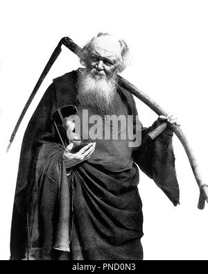 1930S FATHER TIME CARRYING A SCYTHE AND HOURGLASS - c11480 HAR001 HARS CAUCASIAN ETHNICITY HAR001 JANUARY 1 NEW YEAR NEW YEARS OLD FASHIONED PERSONIFICATION POSTERIZED REPRESENTATION - Stock Image