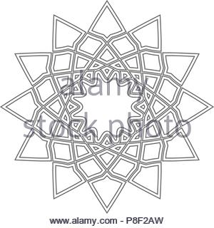 Linear geometrical ornament - Stock Image