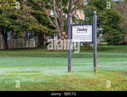 Chuckey, TN, USA-10-1-18: Welcoming sign to the community of Chuckey, named for the Nolichuckey river, which runs nearby. - Stock Image
