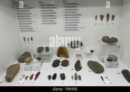 Azerbaijan, Gobustan, Gobustan Rock Art Cultural Landscape, UNESCO World Heritage Site; Visitor Center interior exhibit - Stock Image