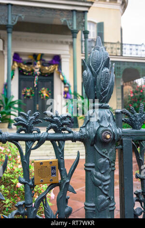 Cornstalk fence, detail of a wrought iron cornstalk fence in the upmarket Garden District of New Orleans, Louisiana, USA - Stock Image