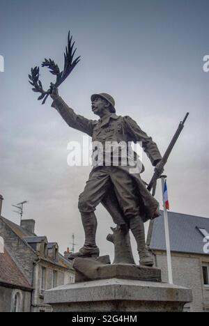 War monument WW1 in Creully, Normandy - Stock Image