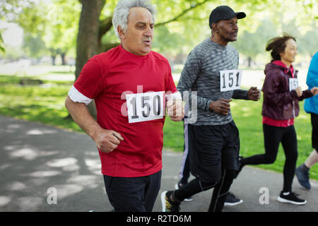 Active senior man running sports race in park - Stock Image