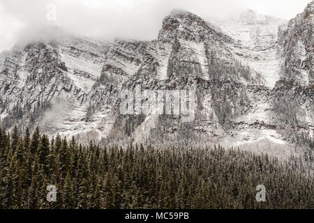 Snow Storm in late October at Lake Louise and Victoria Glacier in Banff National Park in Alberta, Canada. - Stock Image