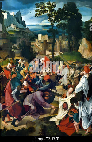Christ Carrying the Cross 1510 Anonymous painter said Master of the Repudiation Agar 1510 active in Leiden, The Netherlands, Dutch, - Stock Image