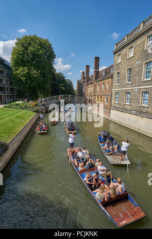 punts on the river cam  cambridge - Stock Image