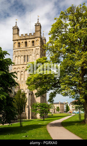 UK, England, Devon, Exeter, Cathedral Green, Cathedral tower - Stock Image