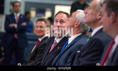 Acting NASA Administrator Robert Lightfoot, left, talks with Vice President Mike Pence, during an event where NASA - Stock Image