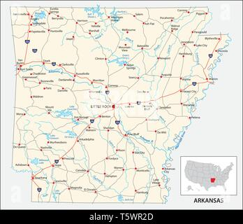 road map of the US American State of Arkansas - Stock Image