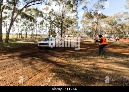Avoca, Australia. 27th Aug, 2017. MELBOURNE, AUSTRALIA – AUGUST 27: Driver David Lawrance and Co Driver Darren Davison in a Datsun 1600 during the 2017 Victorian Rally Championship, Round 3 of the Leechs Mitsubishi Pyrenees Rush, Australia on August 27 2017. Credit: Dave Hewison Sports/Alamy Live News - Stock Image