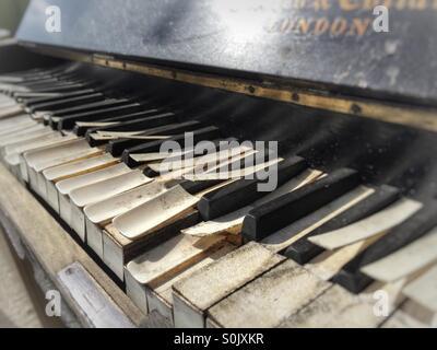 Old piano keys and keyboard. - Stock Image