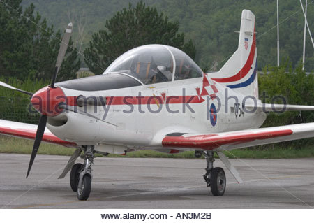 Grobnik Croatia Air show 2005 Pilatus PC9 trainer Croatian Air Force - Stock Image