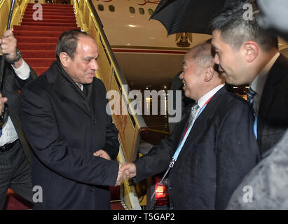 Beijing, China. 25th Apr, 2019. Egyptian President Abdel-Fattah al-Sisi arrives in Beijing, capital of China, April 25, 2019, to attend the Second Belt and Road Forum for International Cooperation (BRF). Credit: Li Xin/Xinhua/Alamy Live News - Stock Image