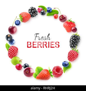 Isolated berries frame. Design element of fresh berries (strawberry, cherry, blackberry, raspberry and others) isolated on white background with clipp - Stock Image