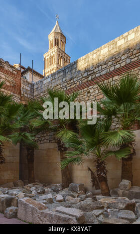 Courtyard showing layers of construction, Substructions of Diocletian's Palace, Split, Croatia - Stock Image