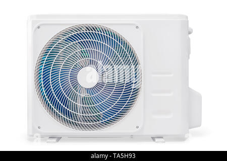 White air conditioning compressor unit. Isolated on white, clipping path included - Stock Image