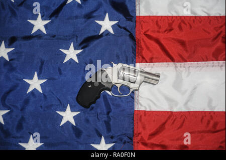 Charter Arms 38 Special Undercover Handgun on the American Flag - Stock Image