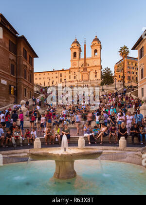 Spanish Steps at sunset, Rome, Italy - Stock Image