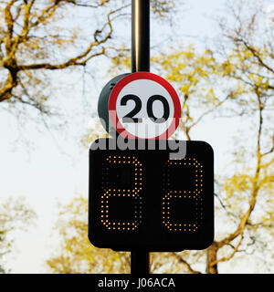 20 mph speed limit sign with speed indicator panel - Stock Image