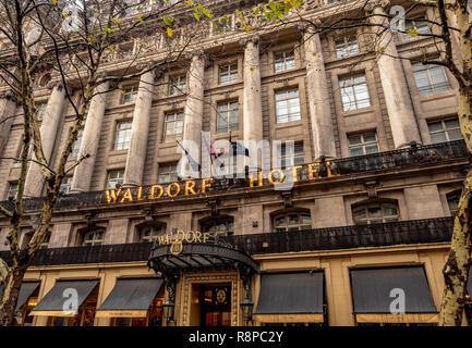 Exterior of the Waldorf Hotel, London, UK. - Stock Image