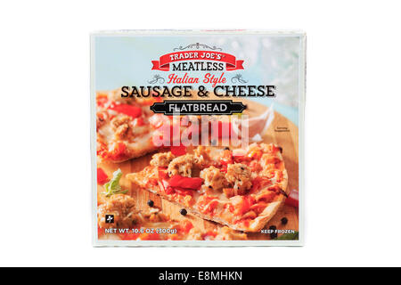 Trader Joe's Sausage & Cheese Flatbread Frozen Meal - Stock Image