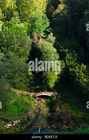Old road bridge crossing river, Sorano, Province of Grosseto, Tuscany, Italy - Stock Image