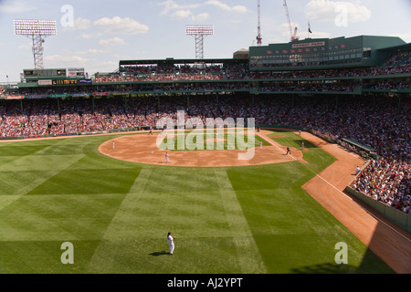 Red Sox Playing at Fenway Park on June 16 2007 view from the Green Monster Seats with Manny Ramirez in the outfield - Stock Image