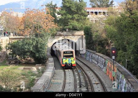 Athens train underground subway metro - Stock Image
