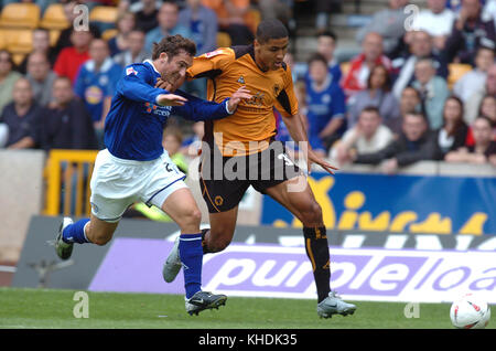 Footballer Leon Clarke and Peter Canero Heath Wolverhampton Wanderers v Leicester City 28th August 2004 - Stock Image