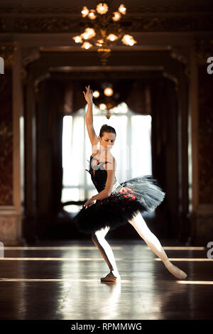 Beautiful ballerina dancing in a hall with a chandelier in a black dress against the window. - Stock Image