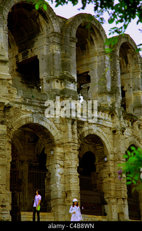 Arles; Bouches du Rhone, France; Detail of arches on the Amphitheatre - Stock Image