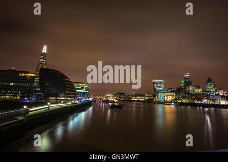 London Skyline, Shard, Walkie Talkie, Gherkin, Thames - Stock Image