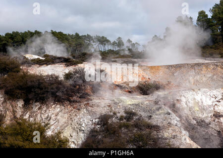 View of Unstable cratered ground in the Waiotapu geothermal area, North Island, New Zealand - Stock Image