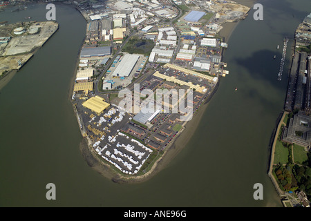 Aerial photograph of the Frindsbury Peninsula Trading Estate near Rochester in the Medway Towns in Kent - Stock Image