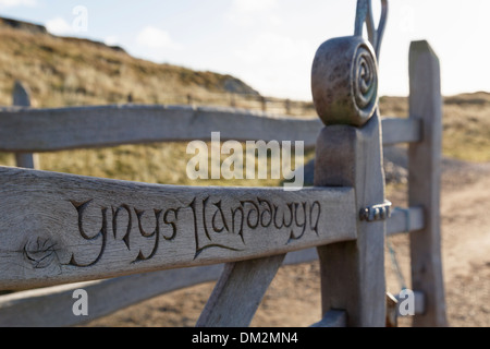 Celtic carvings and inscription of name on kissing gate on main path to Ynys Llanddwyn Island Newborough Anglesey North Wales UK - Stock Image