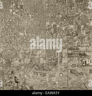 historical aerial photograph of Phoenix, Arizona, 1967 - Stock Image