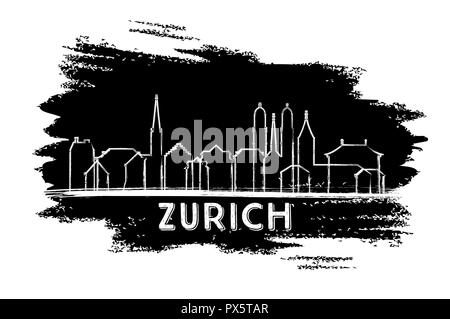 Zurich Switzerland City Skyline Silhouette. Hand Drawn Sketch. Vector Illustration. Business Travel and Tourism Concept with Historic Architecture. - Stock Image