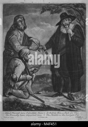 Blind plaintiff, lame defendant J Smith 1652-1743 engraving. Two handicapped persons each receiving half of an oyster - Stock Image