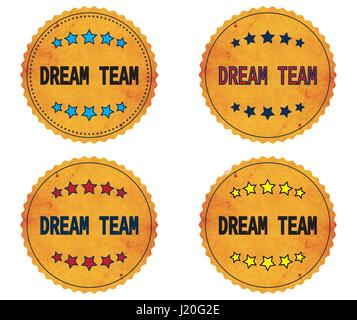 DREAM TEAM text, on round wavy border vintage stamp badge, in color set. - Stock Image