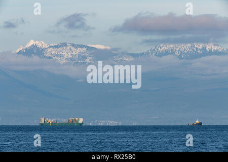 Freight ship taken from Neck Point, Nanaimo, BC, Canada - Stock Image